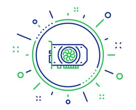 Gpu-Grafikkarten-Liniensymbol. Hardware-Zeichen für Computerkomponenten. Hochwertige Designelemente. Technologie-GPU-Taste. Bearbeitbarer Strich. Vektor