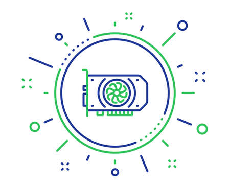 Gpu graphic card line icon. Computer component hardware sign. Quality design elements. Technology gpu button. Editable stroke. Vector Illustration