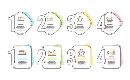 Gingerbread man, Infochart and Sales diagram icons simple set. Scuba diving sign. Christmas cookie, Stock exchange, Sale growth chart. Trip swimming. Business set. Infographic timeline. Vector Ilustração