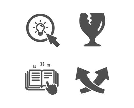 Set of Fragile package, Technical documentation and Energy icons. Intersection arrows sign. Safe shipping, Manual, Turn on the light. Exchange.  Classic design fragile package icon. Flat design