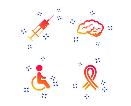 Medicine icons. Syringe, disabled, brain and ribbon signs. Breast cancer awareness symbol. Handicapped invalid. Random dynamic shapes. Gradient medicine icon. Vector