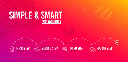 Infographic timeline. Quick tips, Drop counter and Loud sound icons simple set. Update time sign. Helpful tricks, Medical equipment, Music. Refresh watch. Business set. 4 steps layout. Vector