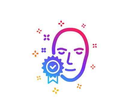Face verified icon. Access granted sign. Facial identification success symbol. Dynamic shapes. Gradient design face verified icon. Classic style. Vector Foto de archivo - 125044971