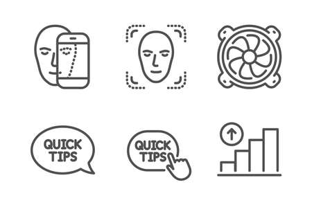 Quick tips, Face detection and Face biometrics icons simple set. Quickstart guide, Computer fan and Graph chart signs. Helpful tricks, Detect person. Science set. Line quick tips icon. Editable stroke Banque d'images - 125044979
