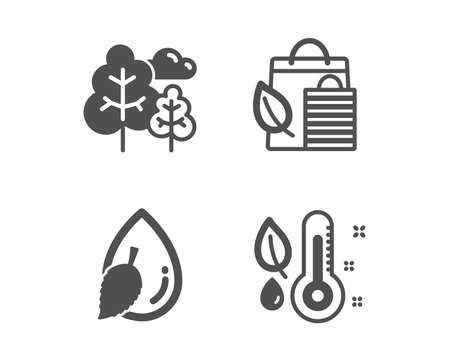 Set of Tree, Water drop and Bio shopping icons. Thermometer sign. Forest plants, Mint leaf, Leaf. Grow plant.  Classic design tree icon. Flat design. Vector