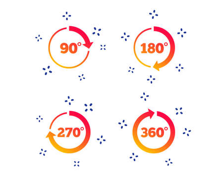 Angle 45-360 degrees circle icons. Geometry math signs symbols. Full complete rotation arrow. Random dynamic shapes. Gradient angle icon. Vector