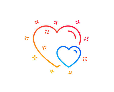 Couple Love line icon. Two Hearts sign. Valentines day symbol. Gradient design elements. Linear hearts icon. Random shapes. Vector  イラスト・ベクター素材