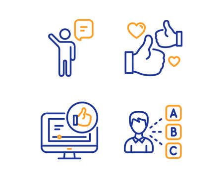 Agent, Like and Like video icons simple set. Opinion sign. Business person, Thumbs up, Choose answer. People set. Linear agent icon. Colorful design set. Vector