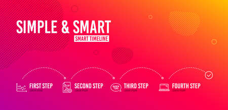 Infographic timeline. Quickstart guide, Report and Diagram chart icons simple set. Laptop sign. Helpful tricks, Presentation document, Presentation graph. Computer. Science set. 4 steps layout. Vector Stock Illustratie