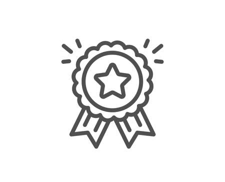 Loyalty award line icon. Bonus points. Discount program symbol. Quality design element. Linear style loyalty award icon. Editable stroke. Vector