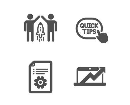 Set of Partnership, Technical documentation and Quick tips icons. Sales diagram sign. Business startup, Manual, Helpful tricks. Sale growth chart.  Classic design partnership icon. Flat design. Vector