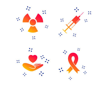 Medicine icons. Syringe, life insurance, radiation and ribbon signs. Breast cancer awareness symbol. Hand holds heart. Random dynamic shapes. Gradient medical icon. Vector