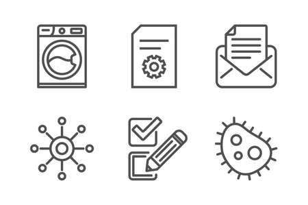 Checkbox, File settings and Multichannel icons simple set. Washing machine, Mail correspondence and Bacteria signs. Survey choice, File management. Technology set. Line checkbox icon. Editable stroke