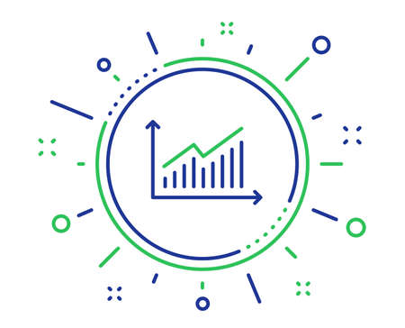 Chart line icon. Report graph or Sales growth sign. Analysis and Statistics data symbol. Quality design elements. Technology graph button. Editable stroke. Vector