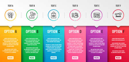Opinion, Creativity and Online buying icons simple set. Valet servant, Web timer and Internet chat signs. Choose answer, Graphic art. Business set. Infographic template. 6 steps timeline. Vector