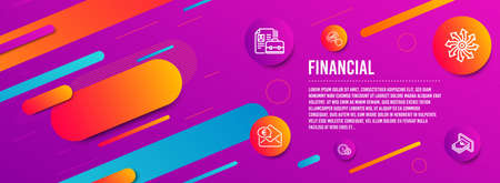 Header banner. Graph chart, Euro money and Versatile icons simple set. Usd coins, Vacancy and Cash signs. Get report, Receive cash. Finance set. Line graph chart icon. Gradient elements. Vector Illustration
