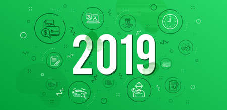 Infographic concept. Online shopping, Web call and Repairman icons simple set. Search car, Clock and Santa boots signs. Reject file, Accounting report and Online loan symbols. 2019 year. Vector Illustration