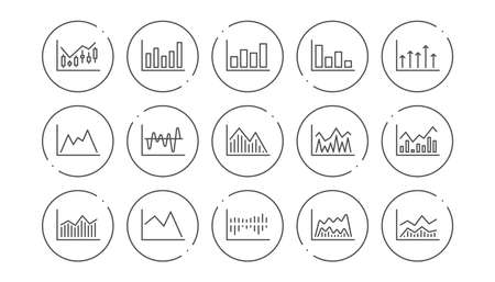 Charts and graphs line icons. Candlestick graph, Infochart and Report diagram. Presentation linear icon set. Line buttons with icon. Editable stroke. Vector Zdjęcie Seryjne - 125604349