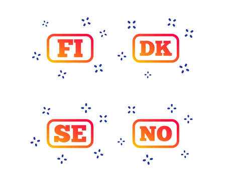 Language icons. FI, DK, SE and NO translation symbols. Finland, Denmark, Sweden and Norwegian languages. Random dynamic shapes. Gradient language icon. Vector Illusztráció