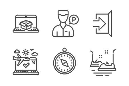 Online delivery, Airplane travel and Exit icons simple set. Valet servant, Travel compass and Bumper cars signs. Parcel tracking website, Check in. Transportation set. Line online delivery icon