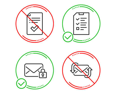 Do or Stop. Secure mail, Approved checklist and Interview icons simple set. Refresh mail sign. Private e-mail, Accepted message, Checklist file. New e-mail. Education set. Line secure mail do icon
