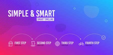 Infographic timeline. Teacup, Seo internet and Sponge icons simple set. Bicycle sign. Tea or latte, Globe, Cleaner bucket. Bike. 4 steps layout. Line teacup icon. Vector Illustration