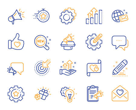 Brand social project line icons. Business strategy, Megaphone and Representative. Influence campaign, social media marketing, brand ambassador icons. Innovation, gift, like sign. Vector