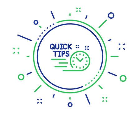 Icône de ligne de conseils rapides. Signe de trucs utiles. Symbole de tutoriels. Éléments de conception de qualité. Bouton de conseils rapides sur la technologie. Trait modifiable. Vecteur