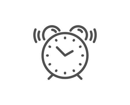Alarm clock line icon. Time sign. Watch symbol. Quality design element. Linear style alarm clock icon. Editable stroke. Vector  イラスト・ベクター素材