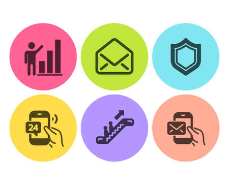 Graph chart, Mail and Escalator icons simple set. 24h service, Security and Messenger mail signs. Growth report, E-mail. Technology set. Flat graph chart icon. Circle button. Vector