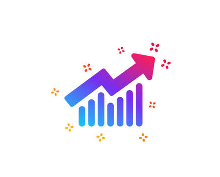 Chart icon. Report graph or Sales growth sign. Analysis and Statistics data symbol. Dynamic shapes. Gradient design demand curve icon. Classic style. Vector Illusztráció