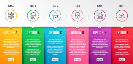 Face declined, Face scanning and Mint bag icons simple set. Skin cream, Clean skin signs. Identification error, Faces detection. Medical set. Infographic template. 6 steps timeline. Business options Ilustração