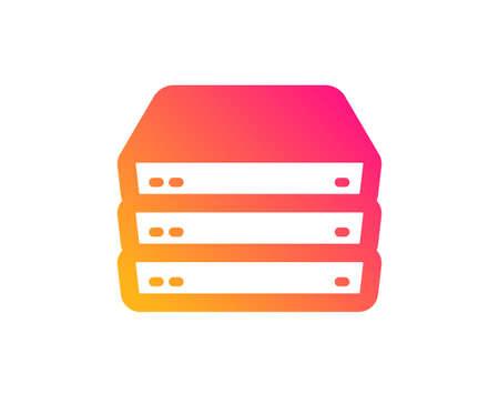 Servers icon. PC component sign. Big data storage symbol. Classic flat style. Gradient servers icon. Vector Illustration