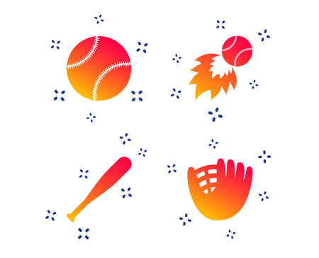 Baseball sport icons. Ball with glove and bat signs. Fireball symbol. Random dynamic shapes. Gradient baseball icon. Vector