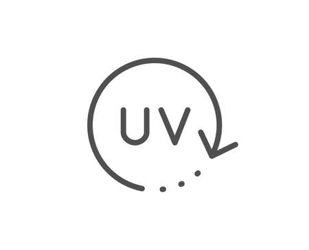 Uv protection cream line icon. Skin care sign. Cosmetic change symbol. Quality design element. Linear style uv protection icon. Editable stroke. Vector Vetores