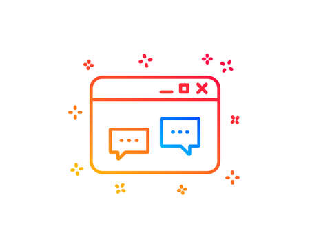 Browser Window line icon. Chat speech bubbles sign. Internet page symbol. Gradient design elements. Linear browser Window icon. Random shapes. Vector