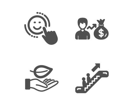 Set of Sallary, Leaf and Smile icons. Escalator sign. Person earnings, Plant care, Positive feedback. Elevator.  Classic design sallary icon. Flat design. Vector