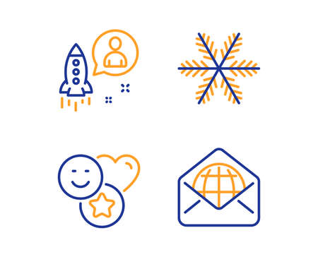 Snowflake, Startup and Smile icons simple set. Web mail sign. Air conditioning, Developer, Social media likes. World communication. Business set. Linear snowflake icon. Colorful design set. Vector  イラスト・ベクター素材