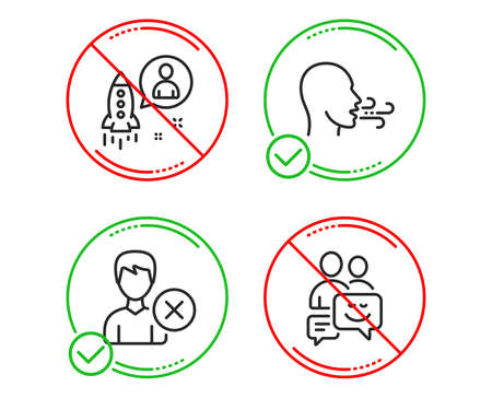 Do or Stop. Remove account, Startup and Breathing exercise icons simple set. Communication sign. Delete user, Developer, Breath. Business messages. People set. Line remove account do icon. Vector