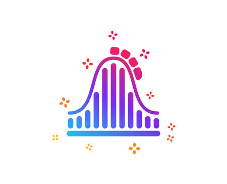 Roller coaster icon. Amusement park sign. Carousels symbol. Dynamic shapes. Gradient design roller coaster icon. Classic style. Vector