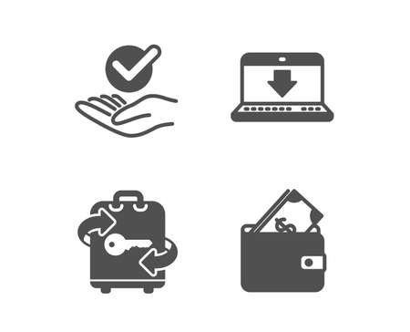 Set of Approved, Internet downloading and Luggage icons. Wallet sign. Verified symbol, Load data, Baggage locker. Usd cash.  Classic design approved icon. Flat design. Vector