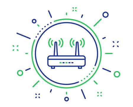 Wifi router line icon. Computer component sign. Internet symbol. Quality design elements. Technology wifi button. Editable stroke. Vector Illustration