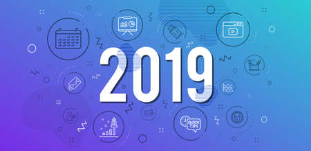 Infographic concept. Presentation, Edit user and Search mail icons simple set. Development plan, Calendar and Quick tips signs. Dot plot, Creativity concept and Video content symbols. 2019 year