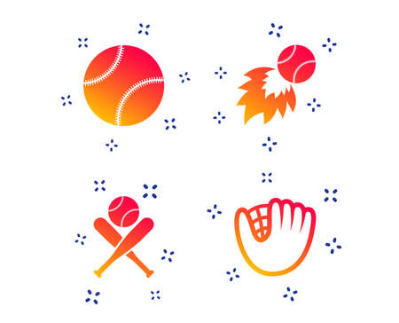 Baseball sport icons. Ball with glove and two crosswise bats signs. Fireball symbol. Random dynamic shapes. Gradient baseball icon. Vector