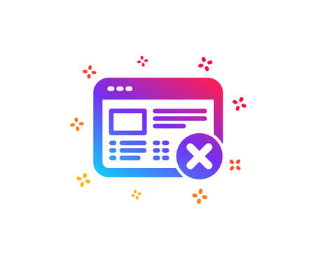 Reject web page icon. No internet sign. Delete browser. Dynamic shapes. Gradient design reject web icon. Classic style. Vector