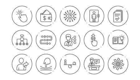 Artificial intelligence, Balance and Refer friend line icons. Timeline path, Cash wallet. Linear icon set. Line buttons with icon. Editable stroke. Vector