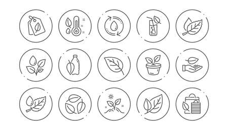 Plants line icons. Leaf, Growing plant and Humidity thermometer. Water drop linear icon set. Line buttons with icon. Editable stroke. Vector