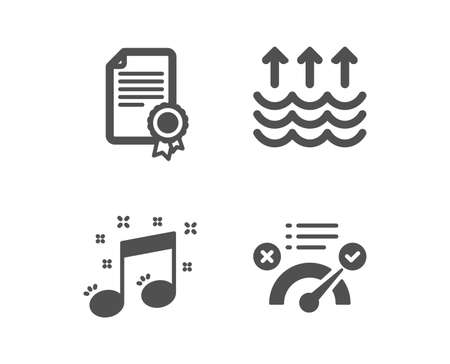 Set of Musical note, Evaporation and Certificate icons. Correct answer sign. Music, Global warming, Diploma. Approved.  Classic design musical note icon. Flat design. Vector Illustration