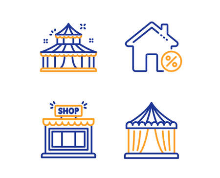 Loan house, Shop and Circus icons simple set. Circus tent sign. Discount percent, Store, Attraction park. Buildings set. Linear loan house icon. Colorful design set. Vector Stockfoto - 125606562