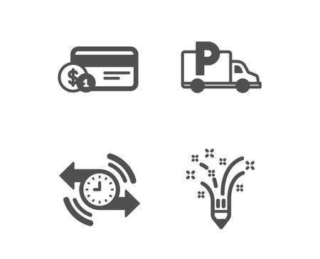Set of Timer, Payment method and Truck parking icons. Inspiration sign. Stopwatch, Cash or non-cash payment, Free park. Creativity pencil.  Classic design timer icon. Flat design. Vector